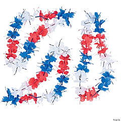 Red, White & Blue Flower Tinsel Lei