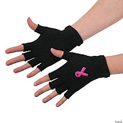 Pink Ribbon Fingerless Gloves