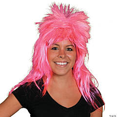 Synthetic Neon Pink Mullet Wig