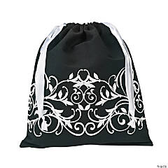 Filigree Black Drawstring Tote Bag