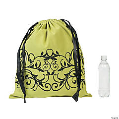 Filigree Lime Drawstring Tote Bag