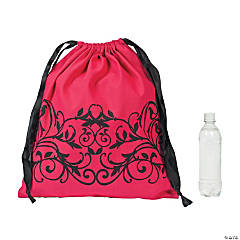 Filigree Hot Pink Drawstring Tote Bag