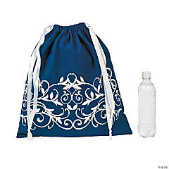 Filigree Navy Drawstring Tote Bag