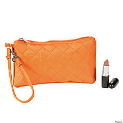 Orange Quilted Wristlet Purse
