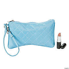 Light Blue Quilted Wristlet Purse