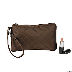 Brown Quilted Wristlet Purse