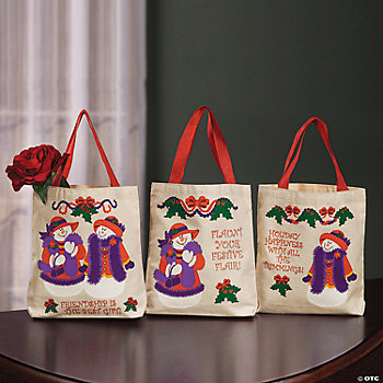 Red & Wild Snow Lady Tote Bags