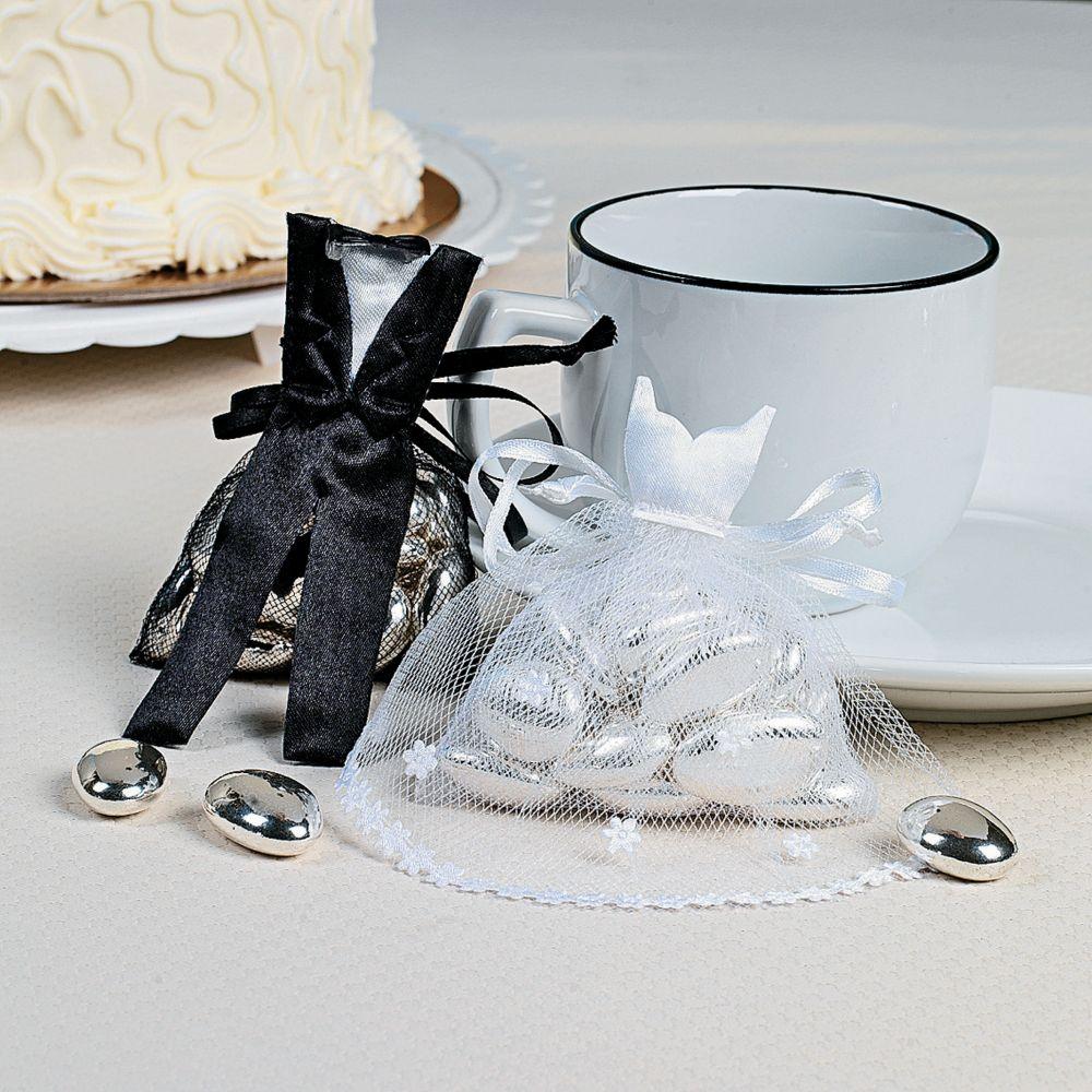 Bride & Groom Satin & Tulle Favor Bags - Tote Bags & Backpacks &