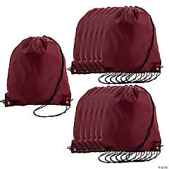 Medium Drawstring Backpacks — Maroon