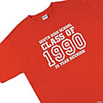 "Personalized ""Class Of"" Red T-Shirt — Adult Small (34-36)"
