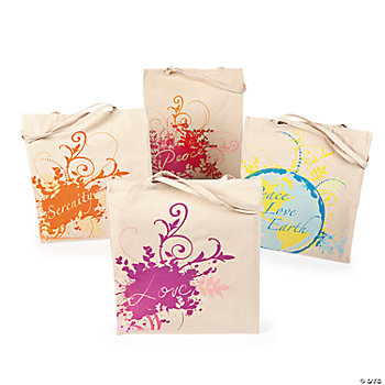 """Peace, Love, Earth"" Tote Bags"