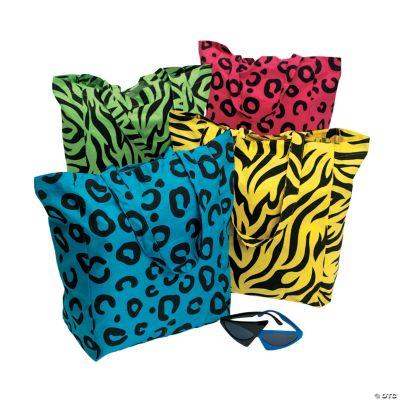 Neon Animal Print Tote Bags