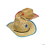 Adult's Straw Cowboy Hats with Plastic Star