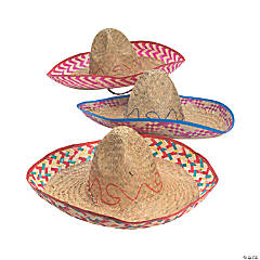 Adult's Embroidered Woven Straw Sombreros