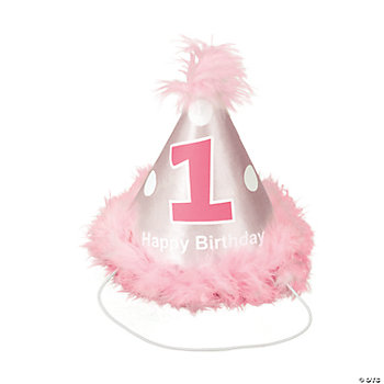 Girl's 1st Birthday Cone Hat