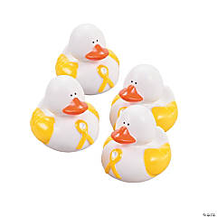 Yellow Awareness Ribbon Rubber Duckies