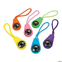 Plastic Neon Compasses on A Cord