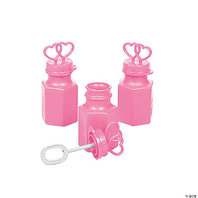 Pink Two Hearts Bubble Bottles