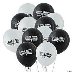 Latex Black & White Checkered Flag Balloons