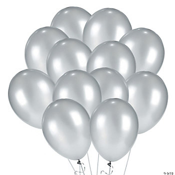 Silver Metallic Latex Balloons