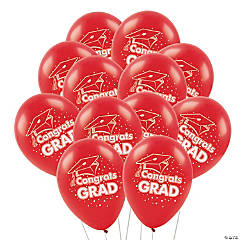 "Red ""Congrats Grad"" Latex Balloons"