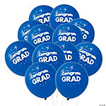 "Blue ""Congrats Grad"" Latex Balloons"