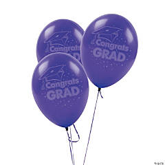 "Purple ""Congrats Grad"" Latex Balloons"