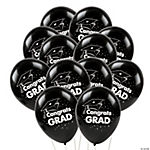 "Black ""Congrats Grad"" Latex Balloons"