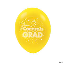 "Yellow ""Congrats Grad"" Latex Balloons"