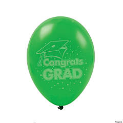 "Green ""Congrats Grad"" Latex Balloons"