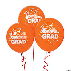 "Orange ""Congrats Grad"" Latex Balloons"
