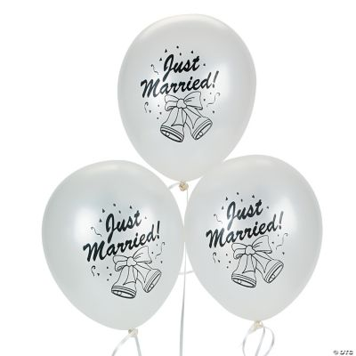 """Silver Latex """"Just Married Bells"""" Balloons"""