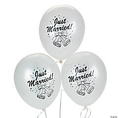 "Silver Latex ""Just Married Bells"" Balloons"