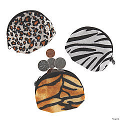 Plush Animal Print Coin Purses