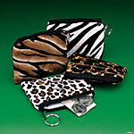 Plush Safari Print Coin Purse Key Chains
