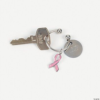 Pink Ribbon Horseshoe Key Chain