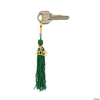 """Class Of 2012"" Green Tassel Key Chains"