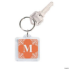Personalized Orange Monogram Key Chains