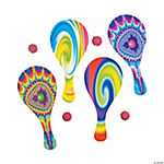 Wooden Psychedelic Paddleball Games