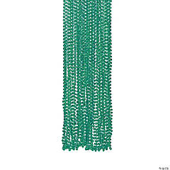 Plastic Metallic Teal Bead Necklaces
