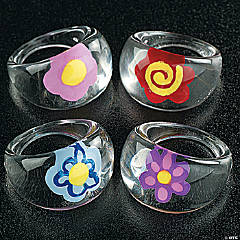 Acrylic Rings with Flower Design
