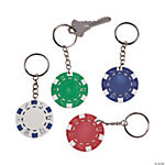 12 Poker Chip Key Chains