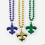 Metallic Beaded Necklaces With A Fleur De Lis Charm