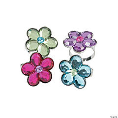 Acrylic Flower Jewel Rings