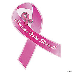 Glitter Breast Cancer Awarenes Pins with Card