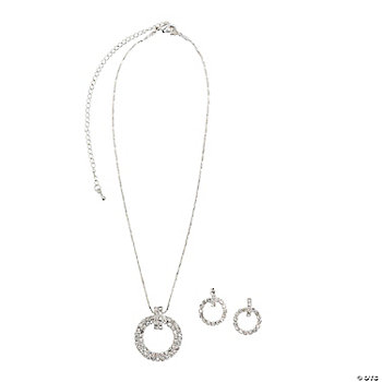 Rhinestone Circle Necklace And Earrings Set