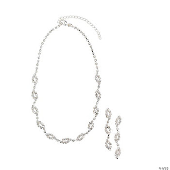 Rhinestone Scrolled Necklace With Earrings