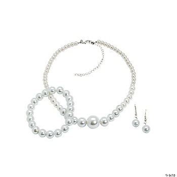 Faux Pearl Necklace, Bracelet & Earrings