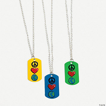 Peace, Love & Earth Dog Tag Necklaces