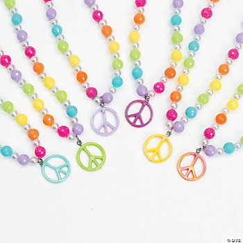 Beaded Necklaces With Peace Sign Charms